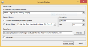 Google Earth Movie Maker dialog